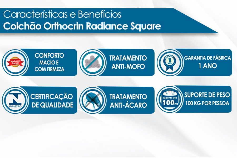 Colchão Orthocrin Molas Pocket Radiance Square Bege