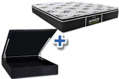 Conjunto Cama Box Baú - Colchão Probel de Espuma D28 ProDormir Advanced Premium Multi Firme Pillow Top + Cama Box Baú Nobuck Nero Black